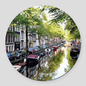 Amsterdam Dawn Round Car Magnet