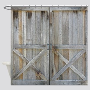 Old Rustic Barn Door Shower Curtain