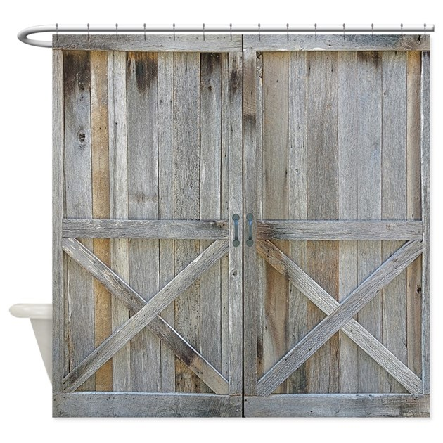 Old Rustic Barn Door Shower Curtain By Rebeccakorpita
