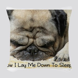 Pug Praying Woven Throw Pillow