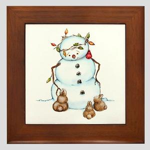 Snowman With Bunnies Framed Tile
