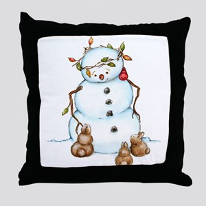 Snowman With Bunnies Throw Pillow