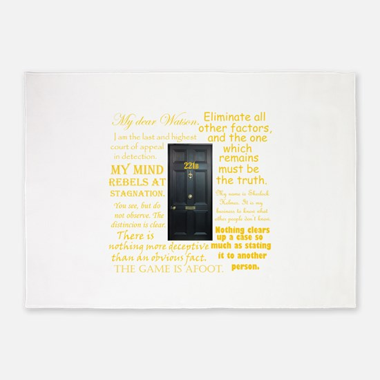 Sherlock Holmes Quotes 5'x7'Area Rug