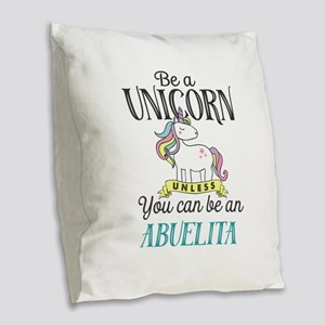 Unicorn ABUELITA Burlap Throw Pillow