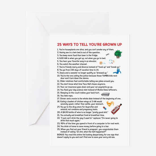 25 Ways to Tell You're Grown Greeting Card