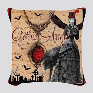 Gothic Angel Woven Throw Pillow