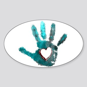 Hand Heart Red Teal Gray Sticker