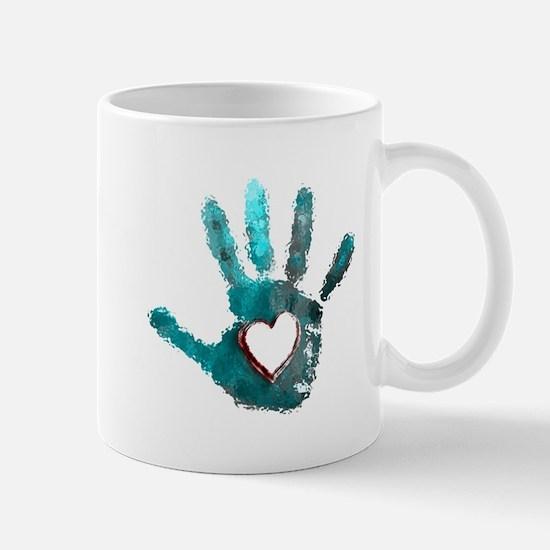 Hand Heart Red Teal Gray Mugs