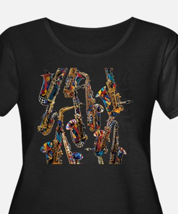 Saxophone Player Musical Instrum Plus Size T-Shirt