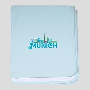 Skyline munich baby blanket