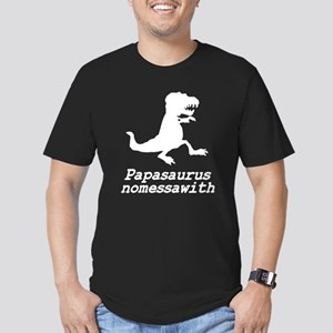 Papasaurus nomessawith Men's Fitted T-Shirt (dark)