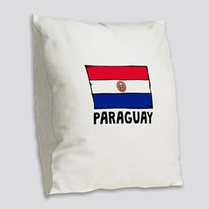Paraguay Flag Burlap Throw Pillow