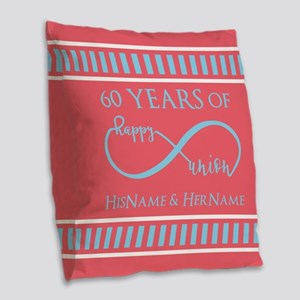 Personalized 60th Anniversary Burlap Throw Pillow