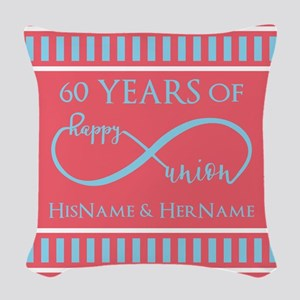 Personalized 60th Anniversary Woven Throw Pillow
