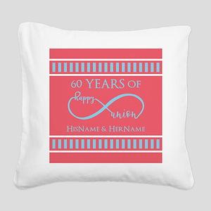 Personalized 60th Anniversary Square Canvas Pillow