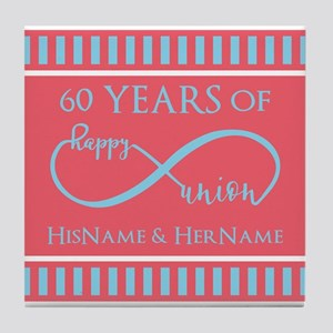 Personalized 60th Anniversary Infinit Tile Coaster