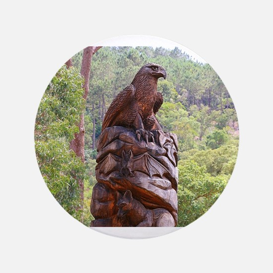 "Eagle totem carving, Portugal 3.5"" Button"