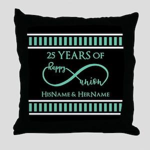 Infinity 25th Wedding Anniversary Per Throw Pillow