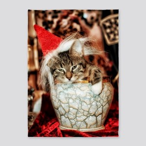 Christmas Kitten 5'x7'Area Rug