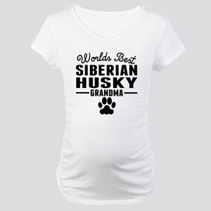 Worlds Best Siberian Husky Grandma Maternity T-Shi