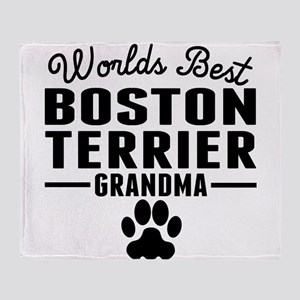 Worlds Best Boston Terrier Grandma Throw Blanket