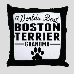 Worlds Best Boston Terrier Grandma Throw Pillow