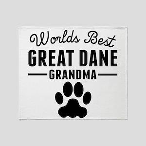 Worlds Best Great Dane Grandma Throw Blanket