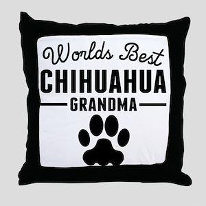 Worlds Best Chihuahua Grandma Throw Pillow