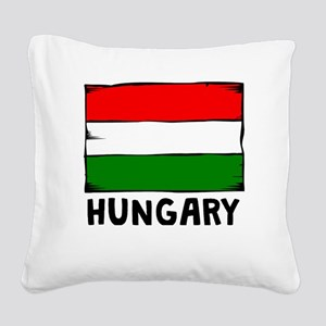 Hungary Flag Square Canvas Pillow