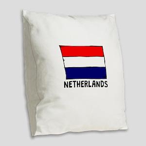 Netherlands Flag Burlap Throw Pillow