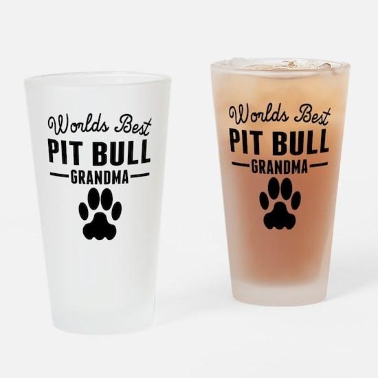 Worlds Best Pit Bull Grandma Drinking Glass