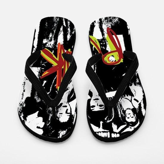 Punk Rock music fashion art and design Flip Flops