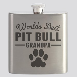 Worlds Best Pit Bull Grandpa Flask