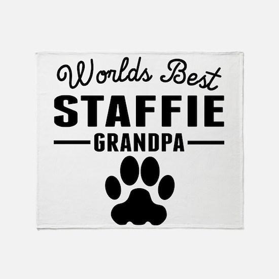 Worlds Best Staffie Grandpa Throw Blanket