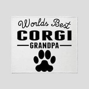 Worlds Best Corgi Grandpa Throw Blanket
