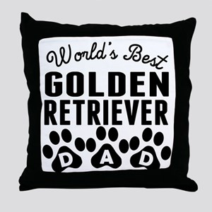 Worlds Best Golden Retriever Dad Throw Pillow