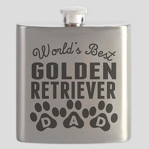 Worlds Best Golden Retriever Dad Flask