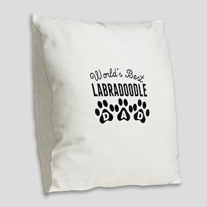 Worlds Best Labradoodle Dad Burlap Throw Pillow