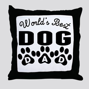 Worlds Best Dog Dad Throw Pillow