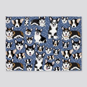 Corgi Dog (Blue Bones) 5'x7'Area Rug