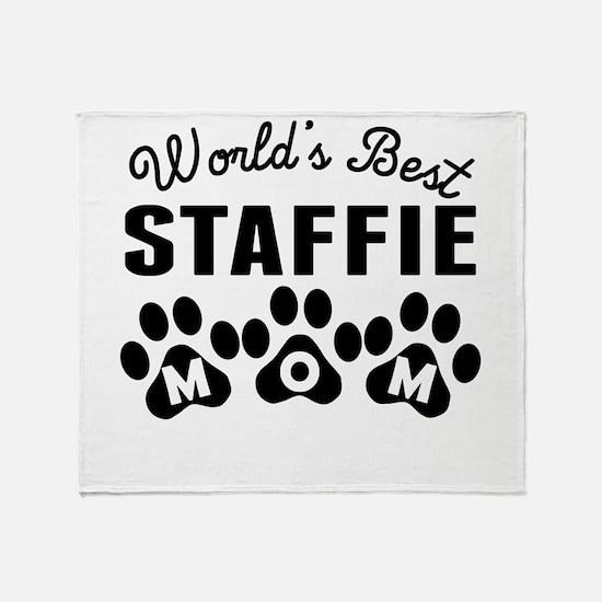 Worlds Best Staffie Mom Throw Blanket