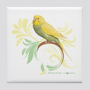 Pastel Green Parakeet Tile Coaster