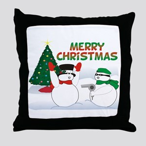Snowman Holdup Throw Pillow
