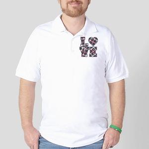 Pink And Black Plaid Love Golf Shirt