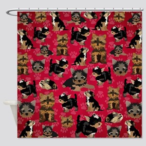 Yorkies (Red Paws) Shower Curtain