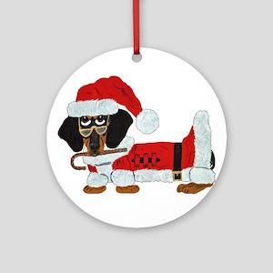 Dachshund Candy Cane Santa (Blk/Tan) Round Ornamen