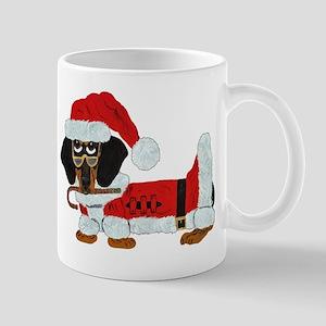Dachshund Candy Cane Santa (Blk/Tan) Mugs