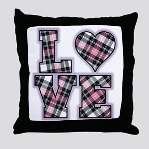 Pink And Black Plaid Love Throw Pillow