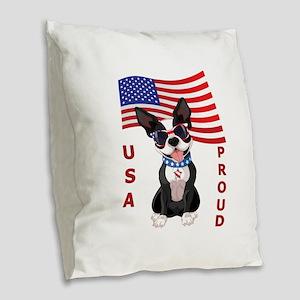 USA Proud - Burlap Throw Pillow