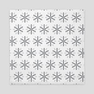 Silver Snowflakes Queen Duvet